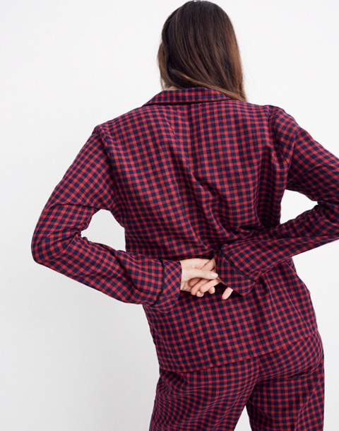 Bedtime Long-Sleeve Pajama Top in Gingham Check in cranberry shadow gingham image 3