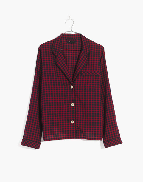 Bedtime Long-Sleeve Pajama Top in Gingham Check in cranberry shadow gingham image 4