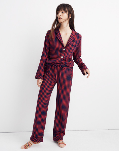 Bedtime Pajama Pants in Gingham Check in cranberry shadow gingham image 1