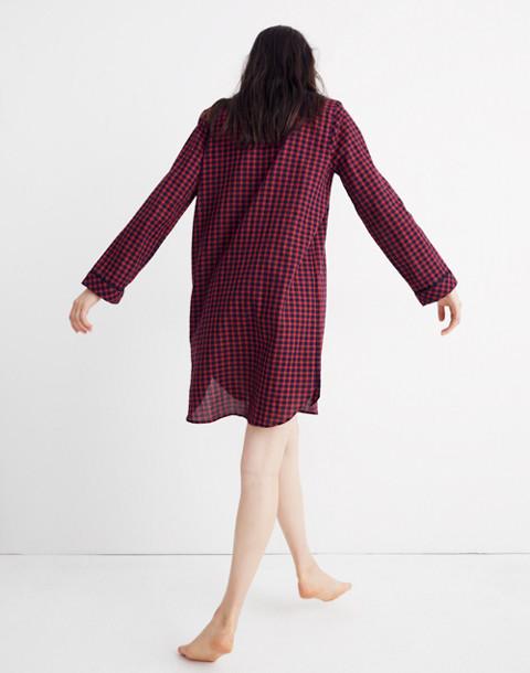 Bedtime Nightshirt in Gingham Check in cranberry shadow gingham image 3