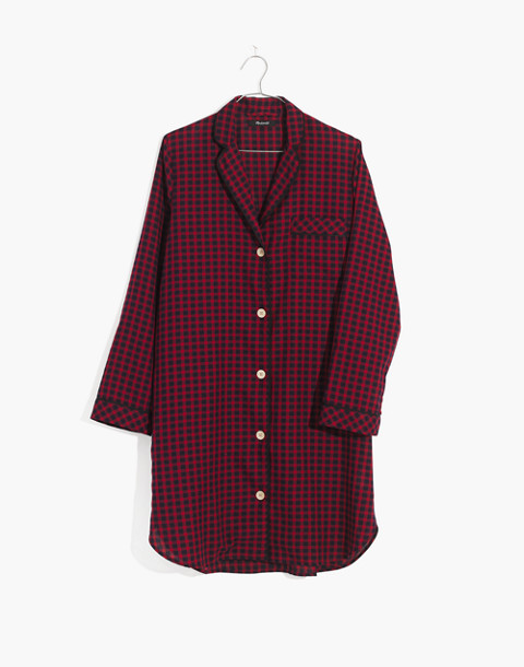 Bedtime Nightshirt in Gingham Check in cranberry shadow gingham image 4