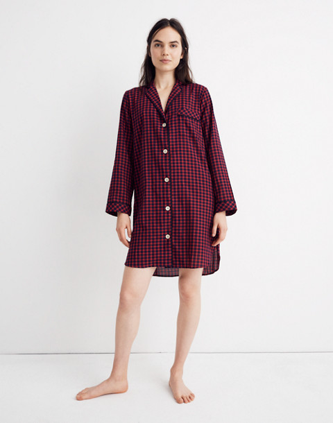 Bedtime Nightshirt in Gingham Check in cranberry shadow gingham image 1