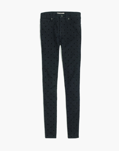"""9"""" High-Rise Skinny Jeans: Flocked Dots Edition in flocked dots image 4"""
