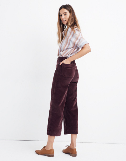 Petite Emmett Wide-Leg Crop Pants in Velveteen in rich plum image 3
