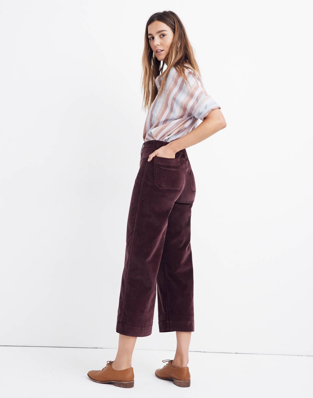 Emmett Wide-Leg Crop Pants in Velveteen in rich plum image 3