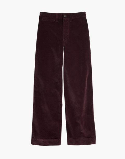 Emmett Wide-Leg Crop Pants in Velveteen in rich plum image 4
