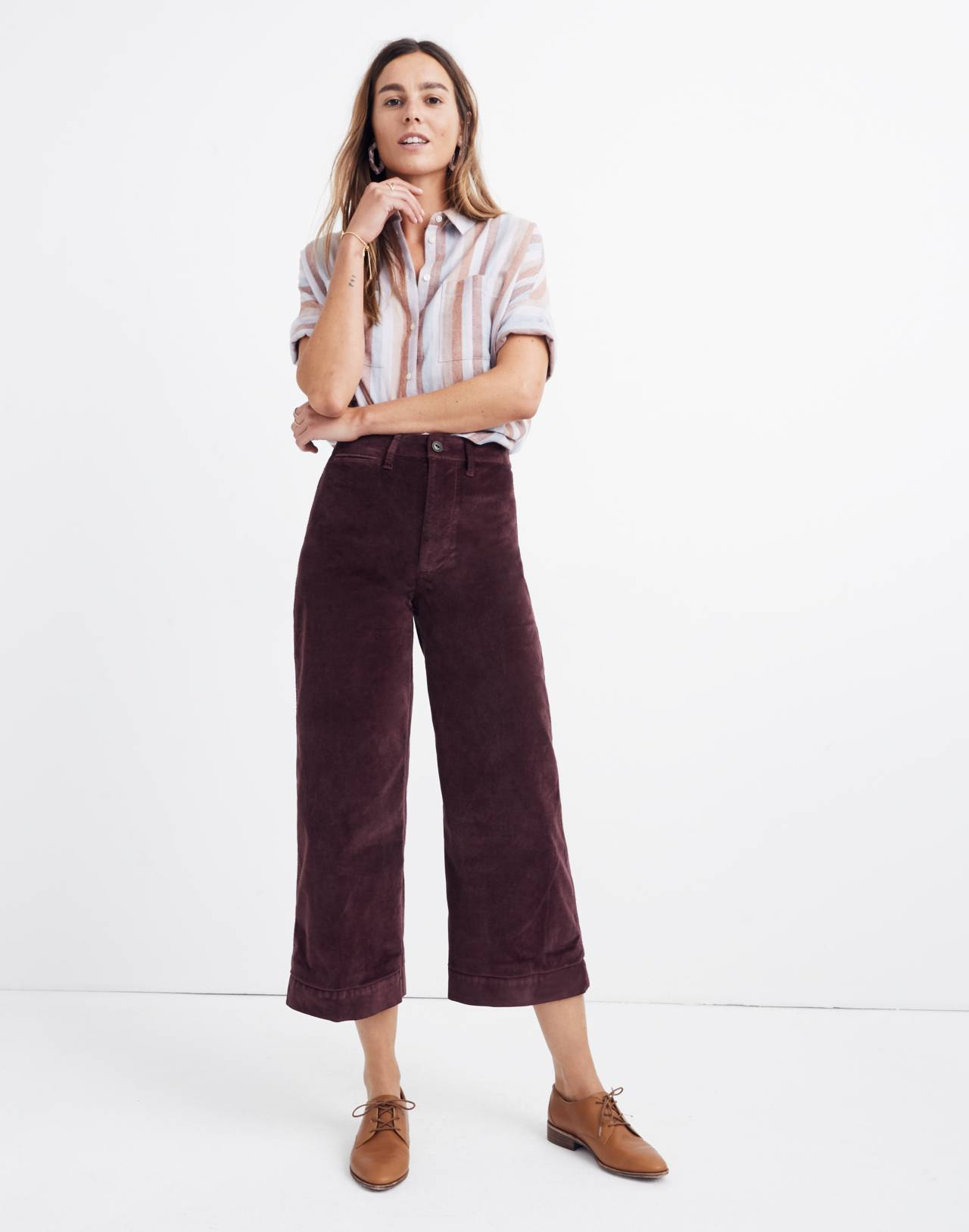 Emmett Wide-Leg Crop Pants in Velveteen in rich plum image 1
