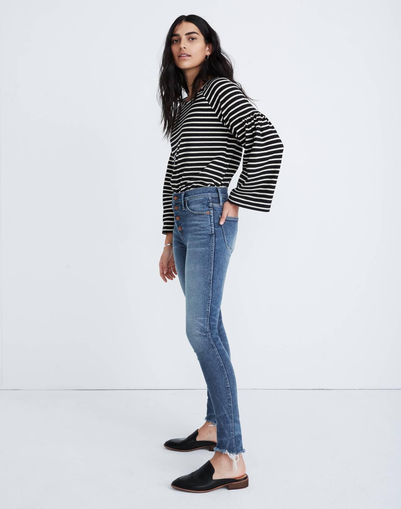 """10"""" High-Rise Skinny Jeans in Cordova Wash: Button-Front Edition in cordova wash image 3"""