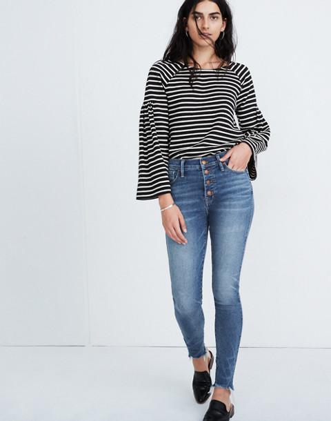 """10"""" High-Rise Skinny Jeans in Cordova Wash: Button-Front Edition in cordova wash image 1"""
