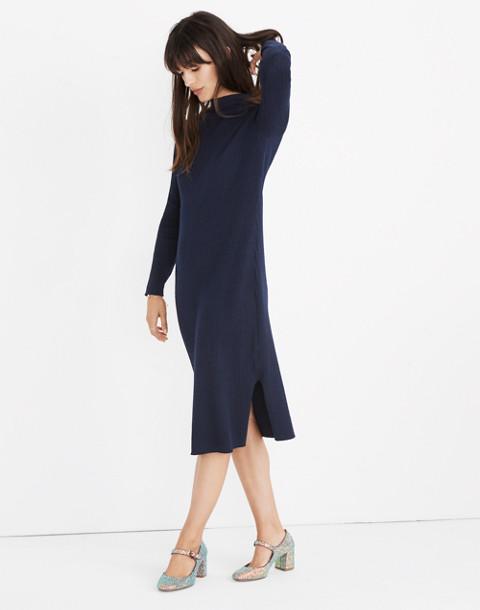 Mockneck Midi Sweater-Dress in navy image 3