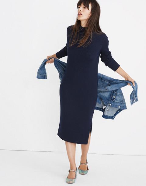 Mockneck Midi Sweater-Dress in navy image 1