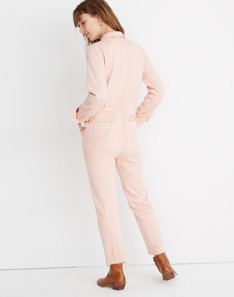 Zip-Front Coverall Jumpsuit in pink oyster image 3