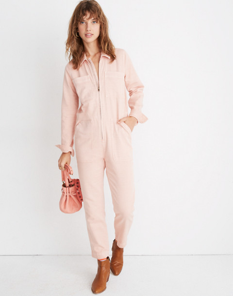Zip-Front Coverall Jumpsuit in pink oyster image 1