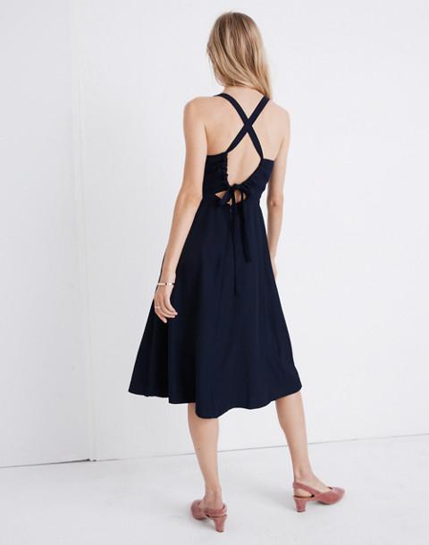 Cross-Back Midi Dress in deep navy image 3
