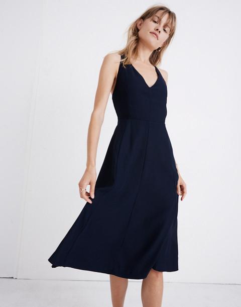Cross-Back Midi Dress in deep navy image 1