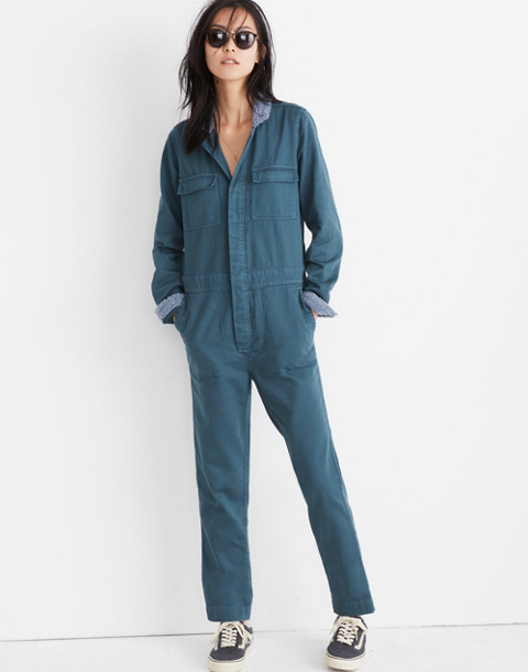 Sherpa Coverall Jumpsuit in dusty moss image 3
