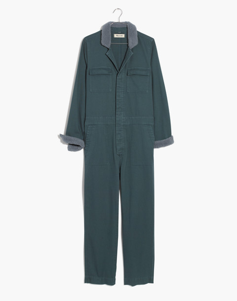 Sherpa Coverall Jumpsuit in dusty moss image 4