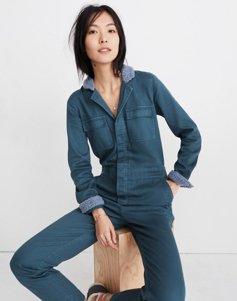 Sherpa Coverall Jumpsuit in dusty moss image 1