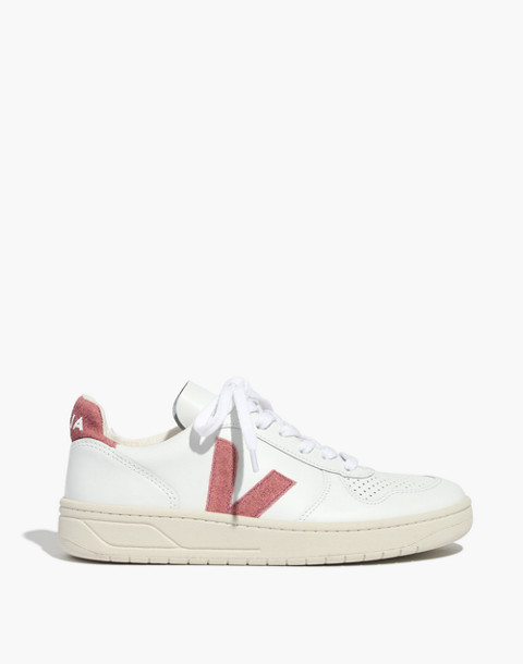 Madewell x Veja™ V-10 Sneakers in Pink Glitter in white pink image 3