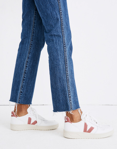 Madewell x Veja™ V-10 Sneakers in Pink Glitter in white pink image 2