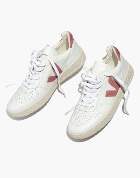 Madewell x Veja™ V-10 Sneakers in Pink Glitter in white pink image 1