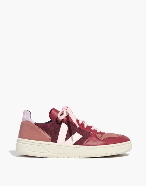 Veja™ V-10 Sneakers in Leather and Pixel in burgundy image 3