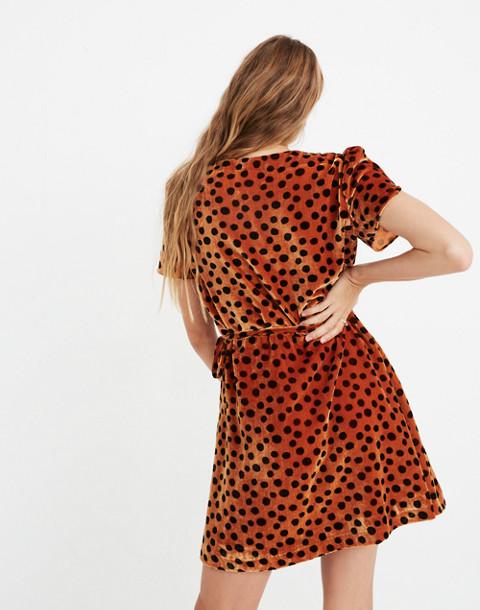 Velvet Wrap Dress in Leopard Dot in leopard dot burnt sienna image 2