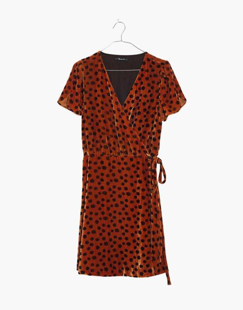 Velvet Wrap Dress in Leopard Dot in leopard dot burnt sienna image 4