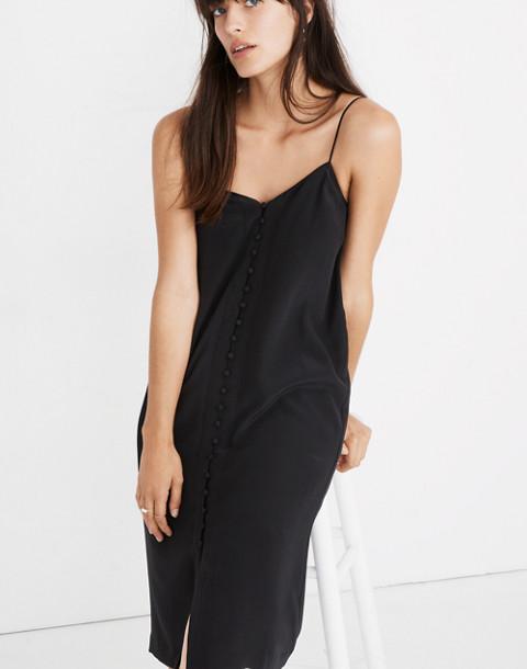 Silk Button-Front Slip Dress in true black image 2