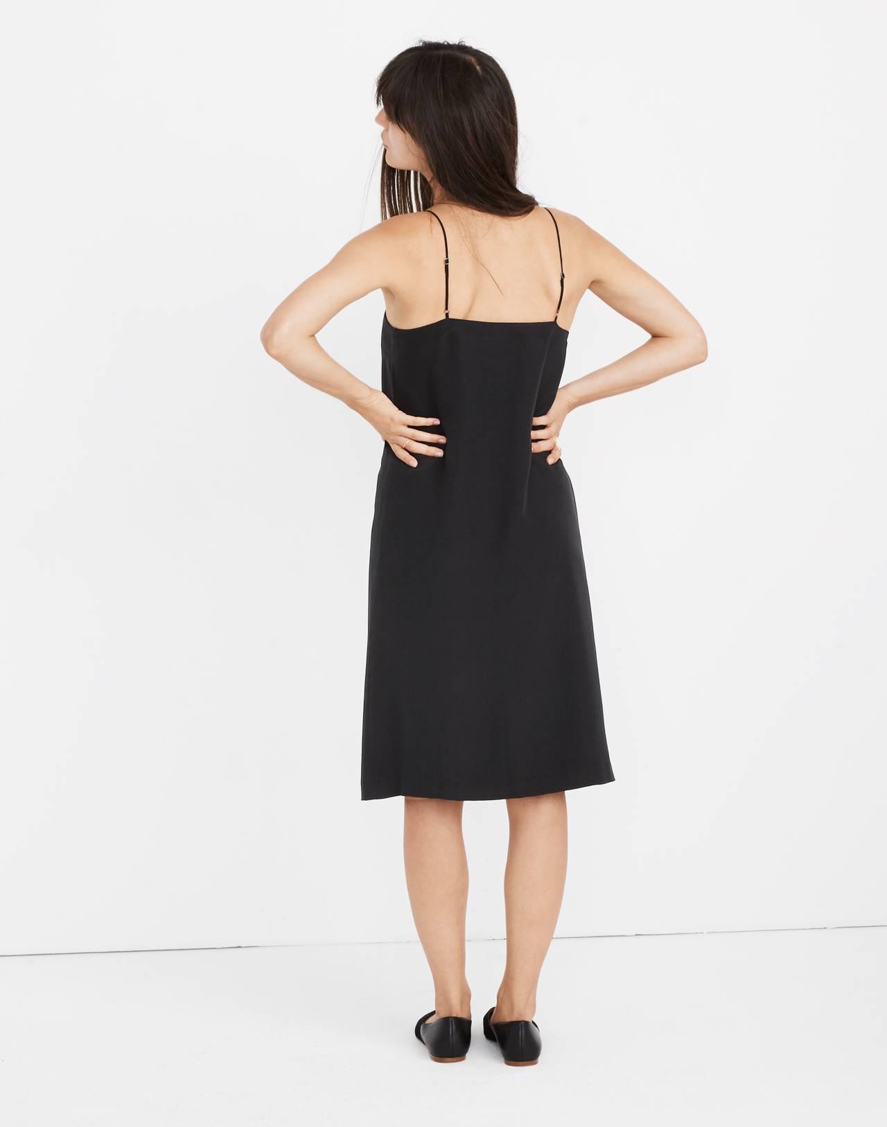 Silk Button-Front Slip Dress in true black image 3