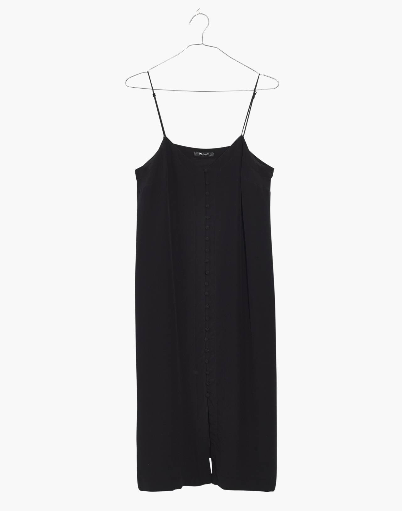 Silk Button-Front Slip Dress in true black image 4