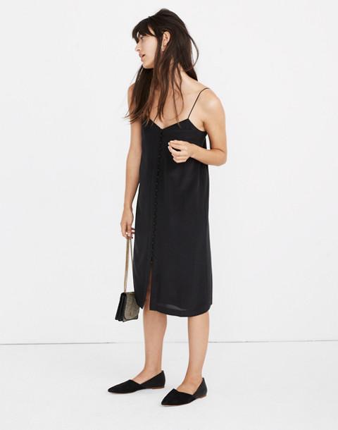 Silk Button-Front Slip Dress in true black image 1