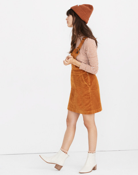 Corduroy Overall Dress in carrot cake image 2