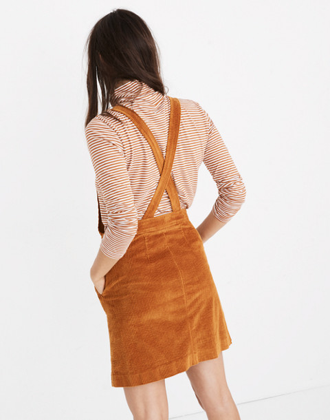 Corduroy Overall Dress in carrot cake image 3