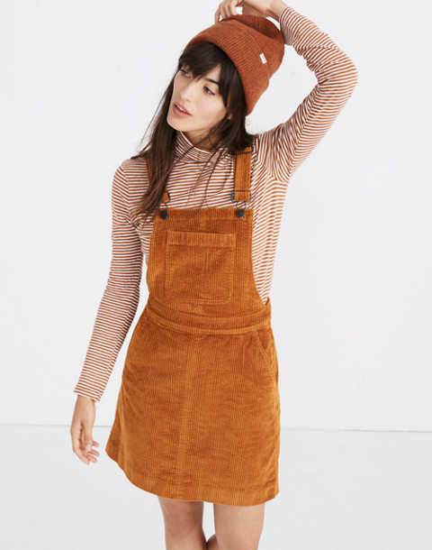 Corduroy Overall Dress in carrot cake image 1