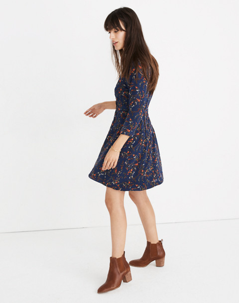 Silk Boatneck Pintuck Dress in Moonless Floral in whisper moonless night image 3