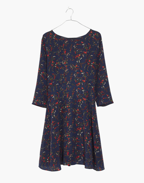 Silk Boatneck Pintuck Dress in Moonless Floral in whisper moonless night image 4