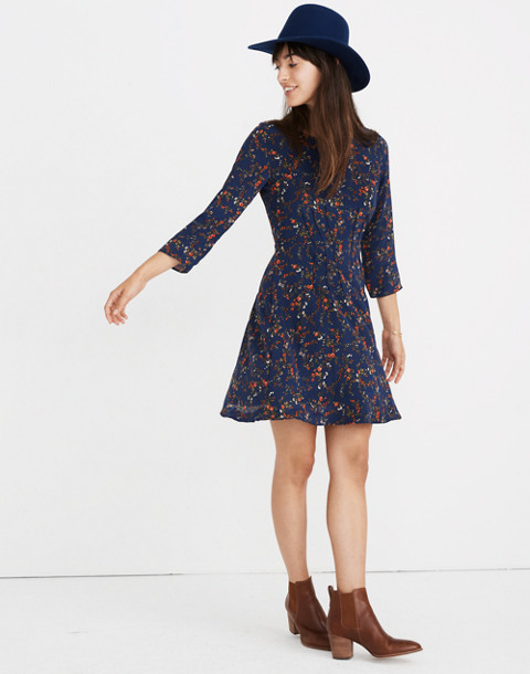 Silk Boatneck Pintuck Dress in Moonless Floral in whisper moonless night image 1