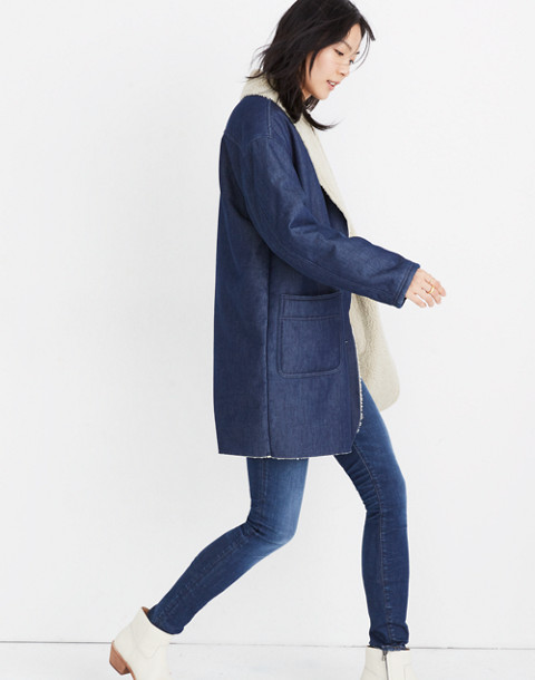 Sherpa-Bonded Denim Cocoon Coat in brunswick wash image 2
