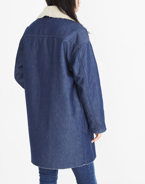 Sherpa-Bonded Denim Cocoon Coat in brunswick wash image 3