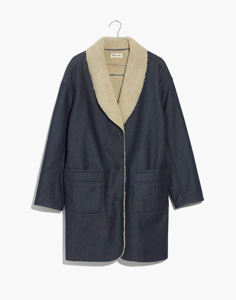 Sherpa-Bonded Denim Cocoon Coat in brunswick wash image 4