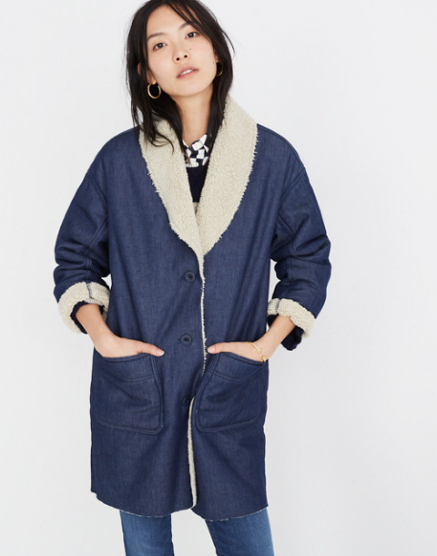 Sherpa-Bonded Denim Cocoon Coat in brunswick wash image 1