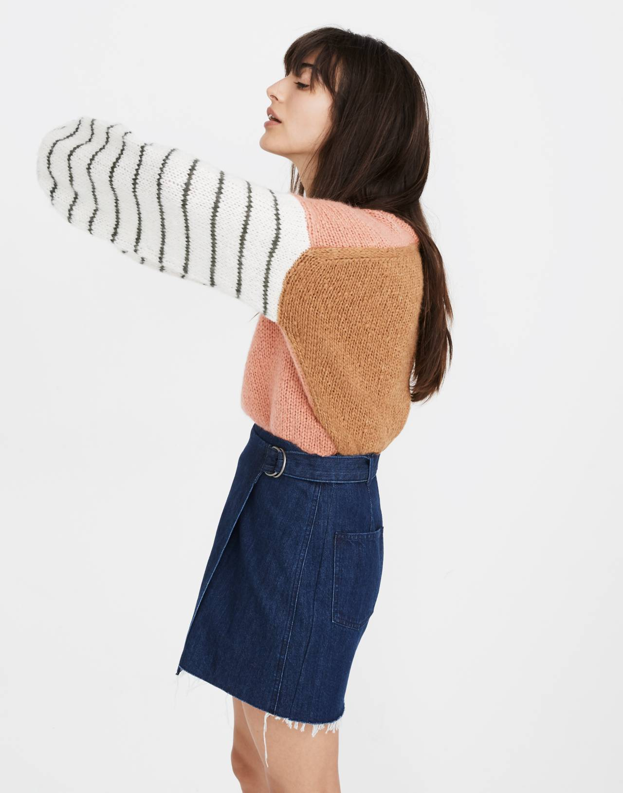 Denim Raw-Hem Mini Wrap Skirt in smithe wash image 2