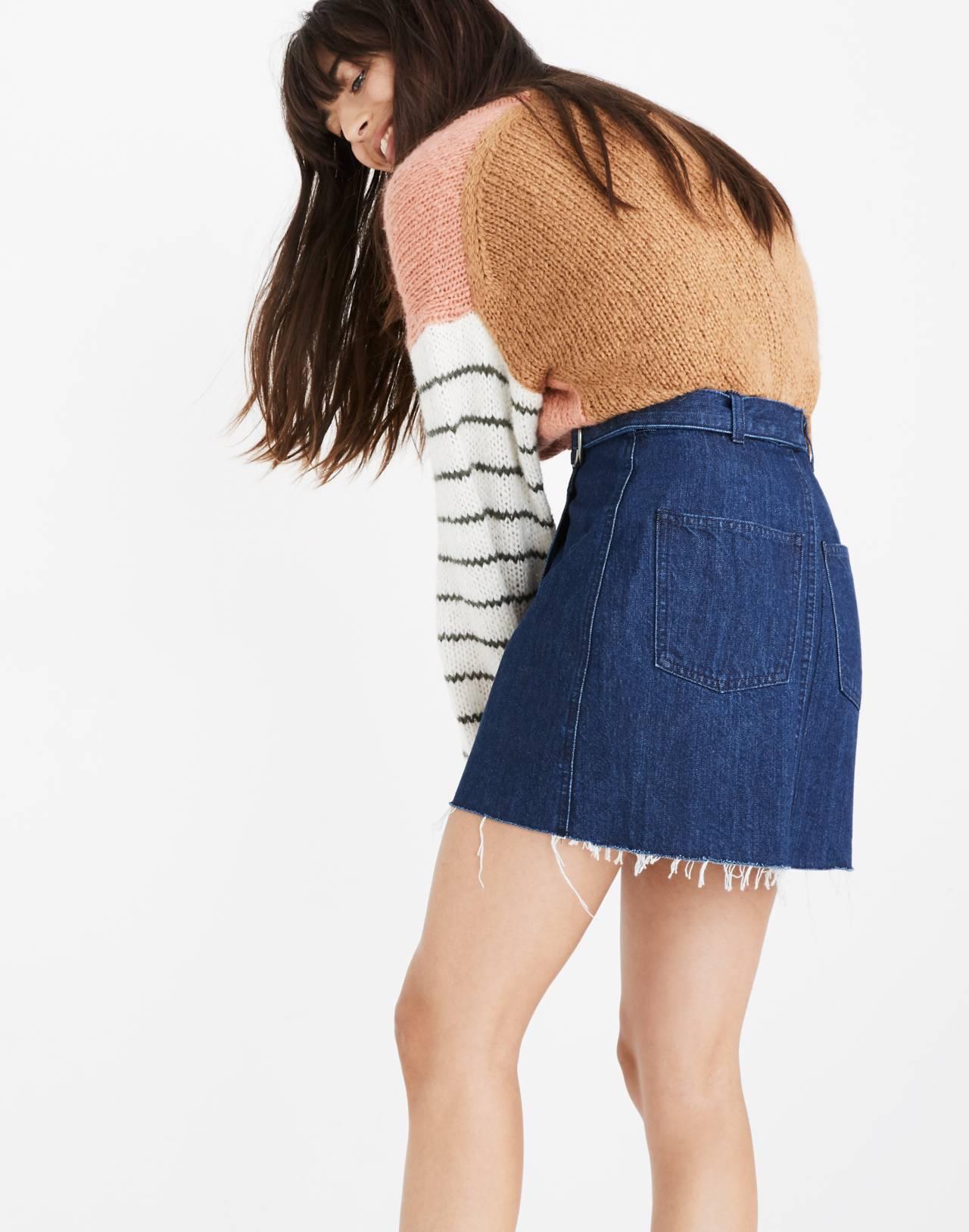 Denim Raw-Hem Mini Wrap Skirt in smithe wash image 3