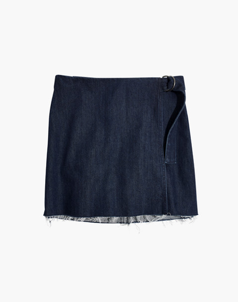 Denim Raw-Hem Mini Wrap Skirt in smithe wash image 4