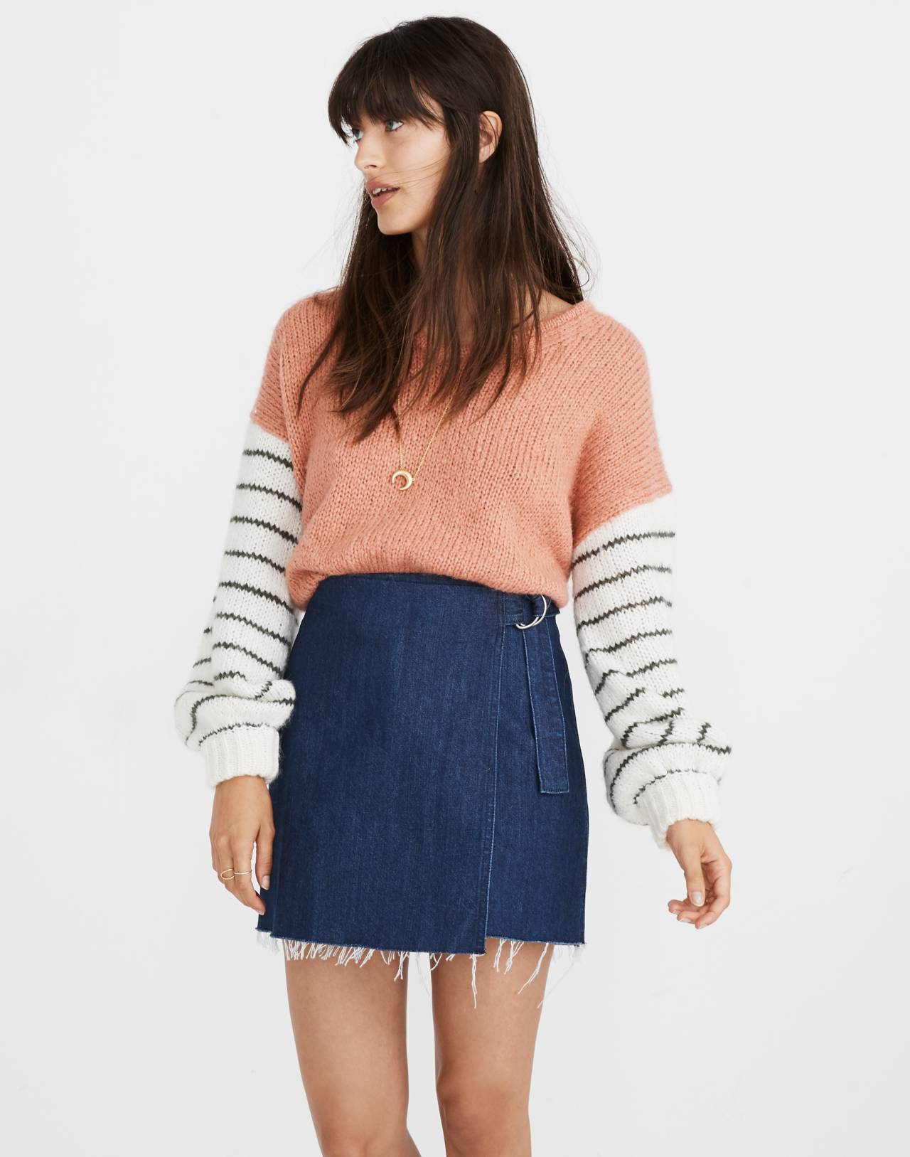 Denim Raw-Hem Mini Wrap Skirt in smithe wash image 1