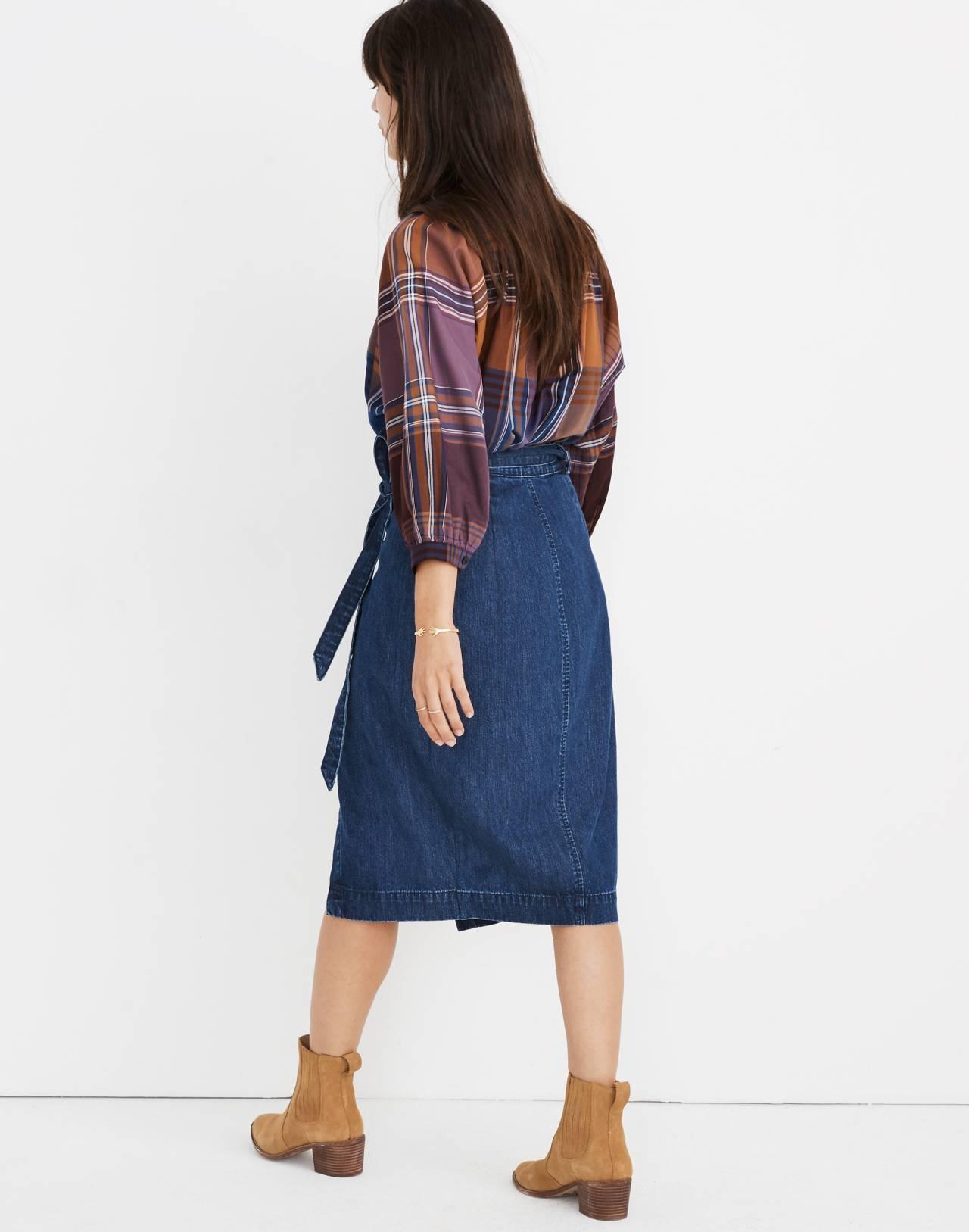 Denim Midi Wrap Skirt in Neville Wash in neville wash image 3