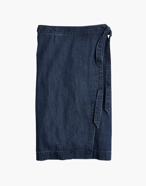 Denim Midi Wrap Skirt in Neville Wash in neville wash image 4