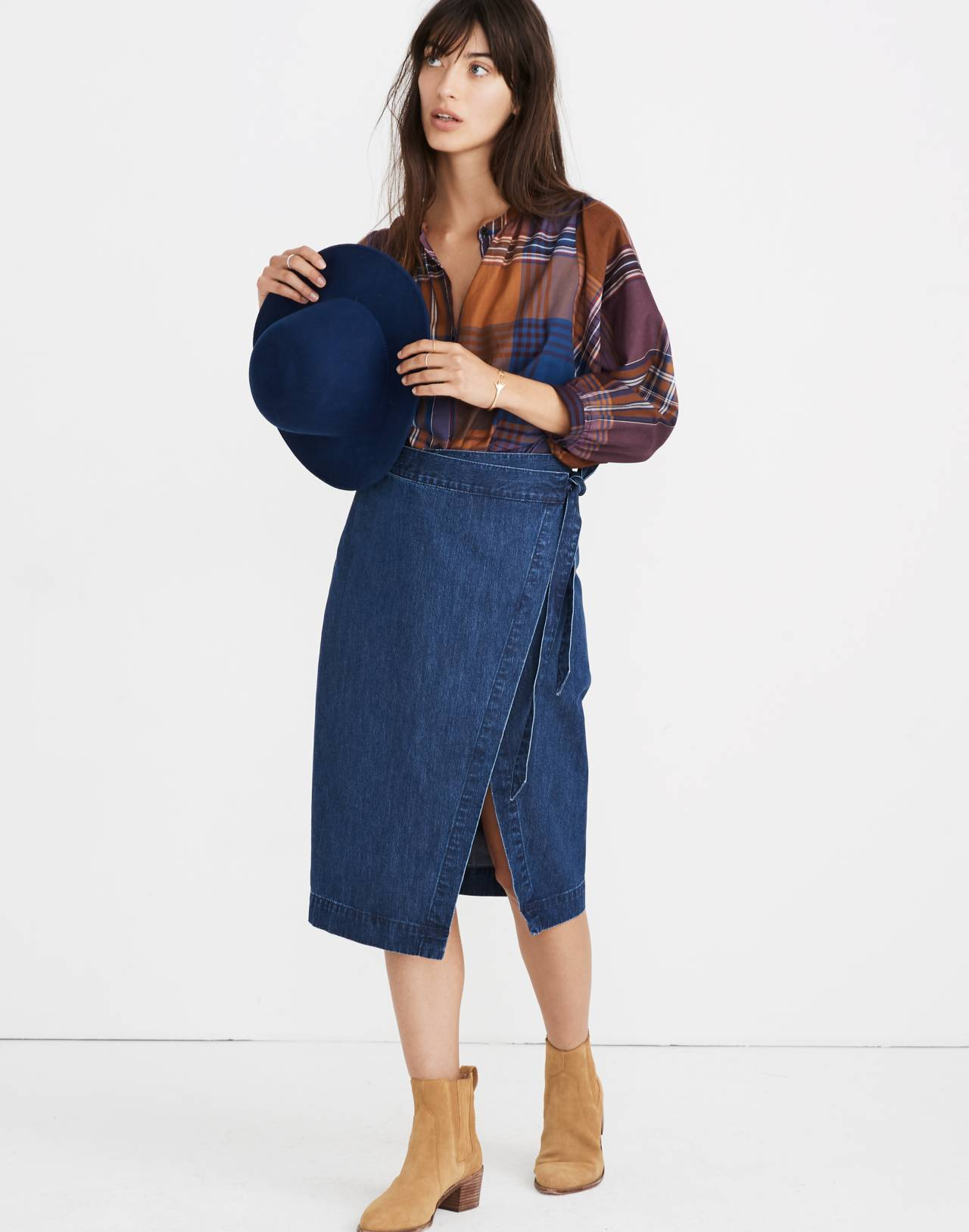 Denim Midi Wrap Skirt in Neville Wash in neville wash image 1