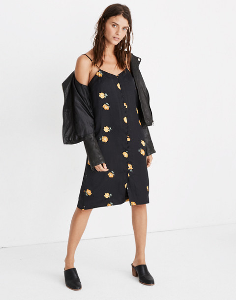 Button-Front Slip Dress in Floating Florets in spaced classic black image 1